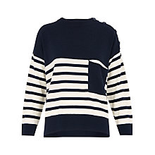 Buy Whistles Cashmere Stripe Jumper, Blue/White Online at johnlewis.com