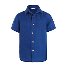 Buy John Lewis Boys' Short Sleeve Linen Shirt, Blue Online at johnlewis.com