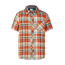 Buy John Lewis Boys' Textured Check Shirt, Orange/Blue Online at johnlewis.com