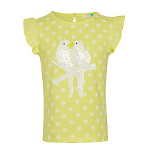 Buy John Lewis Girls' Bird Sequin T-Shirt, Yellow Online at johnlewis.com
