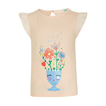 Buy John Lewis Girls' Flower Face T-Shirt, Pink Online at johnlewis.com