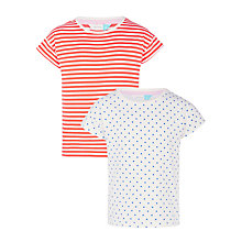 Buy John Lewis Girls' Spot Stripe T-Shirts, Pack of 2, Red Online at johnlewis.com