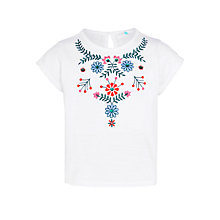 Buy John Lewis Girls' Floral Embroidered T-Shirt, White Online at johnlewis.com