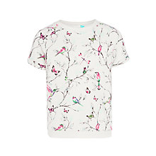 Buy John Lewis Girls' Short Sleeve Floral Sweat T-Shirt, White Online at johnlewis.com