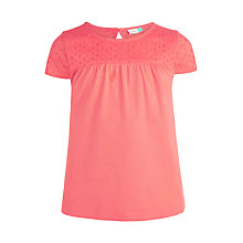 Buy John Lewis Girls' Broderie Yoke T-Shirt, Red Online at johnlewis.com