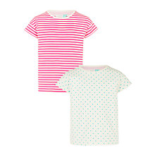 Buy John Lewis Girls' Spot Stripe T-Shirts, Pack of 2, Pink Online at johnlewis.com