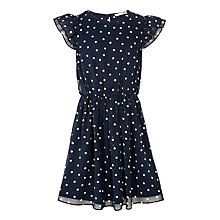 Buy John Lewis Girls' Spot Tea Dress, Navy Online at johnlewis.com