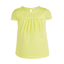 Buy John Lewis Girls' Broderie Yoke T-Shirt, Yellow Online at johnlewis.com