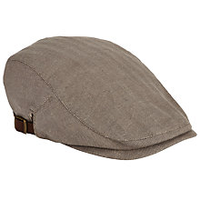 Buy John Lewis Herringbone Cotton Adjustable Flat Cap, Beige Online at johnlewis.com