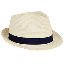 Buy John Lewis Packable Braid Ribbon Trilby Hat, Natural Online at johnlewis.com