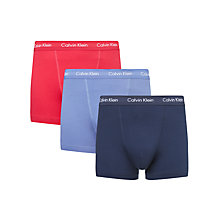 Buy Calvin Klein Underwear Solid Trunks, Pack of 3, Red/Blue/Navy Online at johnlewis.com