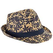 Buy John Lewis Archive Print Trilby Hat, Natural/Navy Online at johnlewis.com
