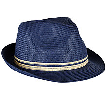 Buy John Lewis Packable Braid Trilby Hat, Blue Online at johnlewis.com