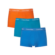 Buy Calvin Klein Low Rise Solid Trunks, Pack of 3, Orange/Turquoise/Blue Online at johnlewis.com