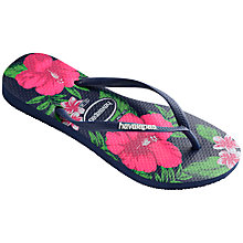Buy Havaianas Slim Floral Flip Flops, Navy Online at johnlewis.com