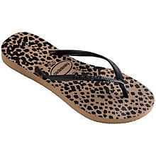 Buy Havaianas Slim Animal Flip Flops, Brown/Black Online at johnlewis.com