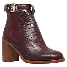 Buy KG by Kurt Geiger Sebastien Block Heeled Ankle Boots, Wine Leather Online at johnlewis.com