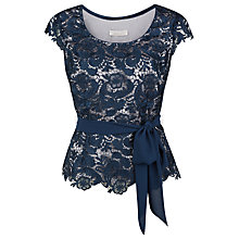 Buy Jacques Vert Petite Lace Belted Top, Dark Blue Online at johnlewis.com