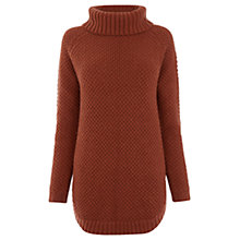 Buy Warehouse Rib Curve Hem Jumper, Dark Red Online at johnlewis.com