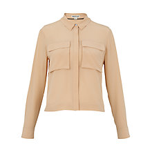 Buy Whistles Cropped Silk Shirt, Nude Online at johnlewis.com