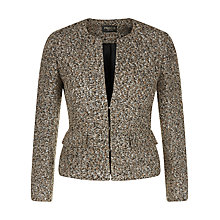 Buy Precis Petite Collarless Boucle Jacket, Dark Brown Online at johnlewis.com