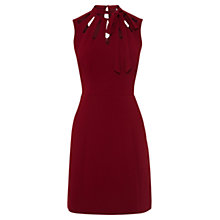 Buy Karen Millen Tie Neck Dress, Dark Red Online at johnlewis.com
