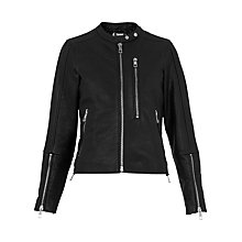 Buy Whistles Drew Collarless Leather Biker Jacket, Black Online at johnlewis.com