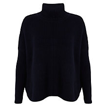 Buy Miss Selfridge Chunky Roll Neck Jumper, Navy Online at johnlewis.com