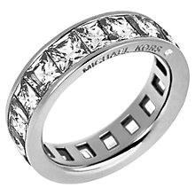 Buy Michael Kors Clear Square Cut Ring, Silver Online at johnlewis.com