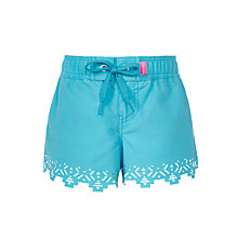 Buy Seafolly Girls' Tropical Splice Laser Cut Board Shorts, Aqua Online at johnlewis.com