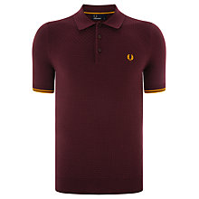 Buy Fred Perry Textured Knit Polo Shirt, Mahogany Online at johnlewis.com