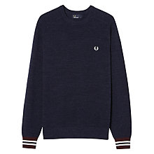 Buy Fred Perry Textured Pique Crew Neck Jumper, Vintage Navy Marl Online at johnlewis.com