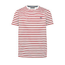 Buy Fred Perry Bretton Stripe Tee, Porcelain/Red Online at johnlewis.com