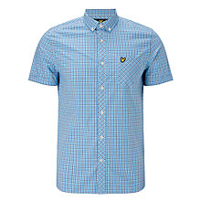 Buy Lyle & Scott Short Sleeve Micro Check Shirt, Deep Cobalt Online at johnlewis.com