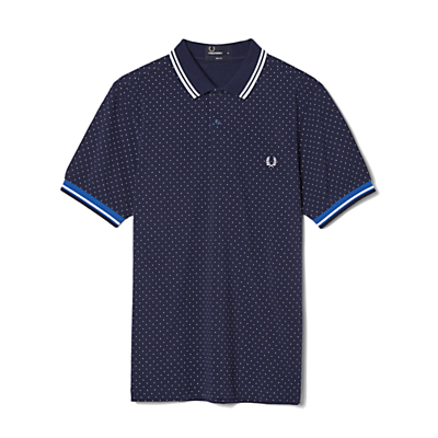 Fred Perry Printed Dot Pique Polo Shirt Carbon Blue