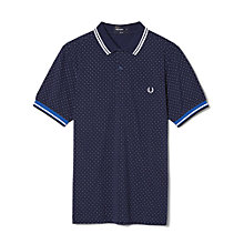 Buy Fred Perry Printed Dot Pique Polo Shirt, Carbon Blue Online at johnlewis.com