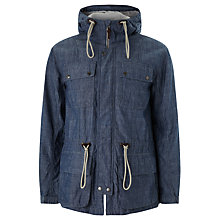 Buy Pretty Green Tarbet Chambray Hooded Jacket, Blue Online at johnlewis.com