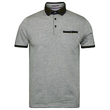 Buy Ted Baker Meyoman Contrast Collar Polo Shirt, Grey/Olive Online at johnlewis.com
