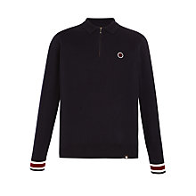 Buy Pretty Green Fernbank Long Sleeved Knitted Polo Top, Navy Online at johnlewis.com