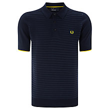 Buy Fred Perry Textured Stripe Polo Shirt, Blue Granite Online at johnlewis.com