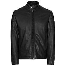 Buy Reiss Brahms Leather Biker Jacket, Black Online at johnlewis.com