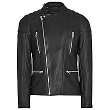 Buy Reiss Leather Biker Jacket, Black Online at johnlewis.com