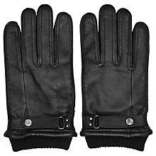 Buy Reiss Penfold Leather Cuffed Gloves, Black Online at johnlewis.com