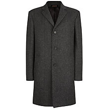 Buy Jaeger Wool Herringbone Coat, Charcoal Online at johnlewis.com
