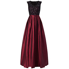 Buy Aidan Mattox Beaded Bodice Gown, Black/Burgundy Online at johnlewis.com