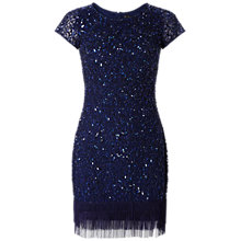 Buy Aidan Mattox Short Sleeve Beaded Cocktail Dress, Navy Online at johnlewis.com