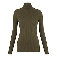 Buy Whistles Rib Roll Neck Jumper, Khaki Online at johnlewis.com