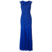 Buy Aidan Mattox Beaded Gown With Godet Inserts, Cobalt Online at johnlewis.com