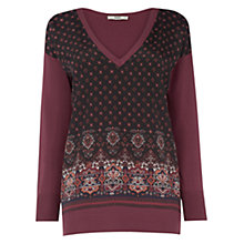 Buy Oasis 70's Kilm Print Wovenfront Top, Mid Red Online at johnlewis.com