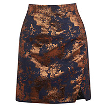 Buy Warehouse Wrap Front Jacquard Skirt, Navy Online at johnlewis.com